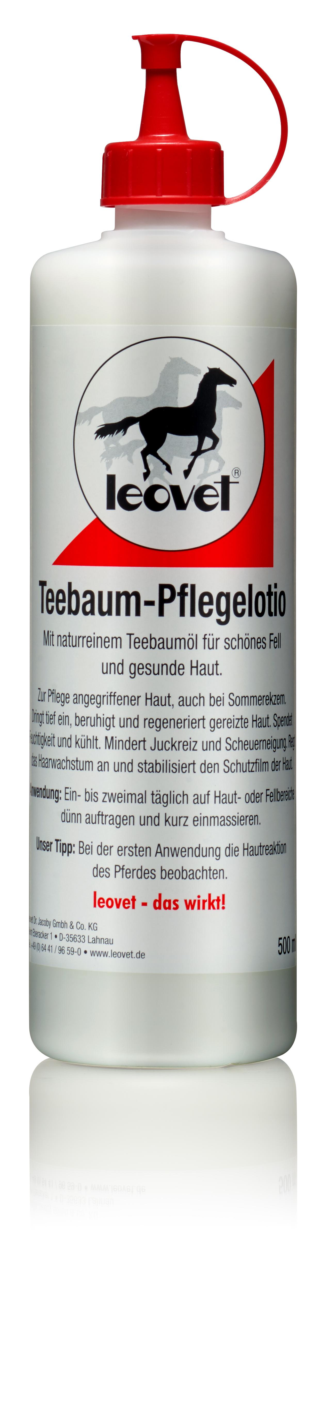 Leovet Teebaum Pflegelotion Flasche zur Pflege angegriffener Haut 500 ml Ekzem