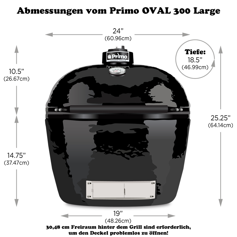 primo oval 300 large keramikgrill profigrill gartengrill grillfl che 1935 cm. Black Bedroom Furniture Sets. Home Design Ideas