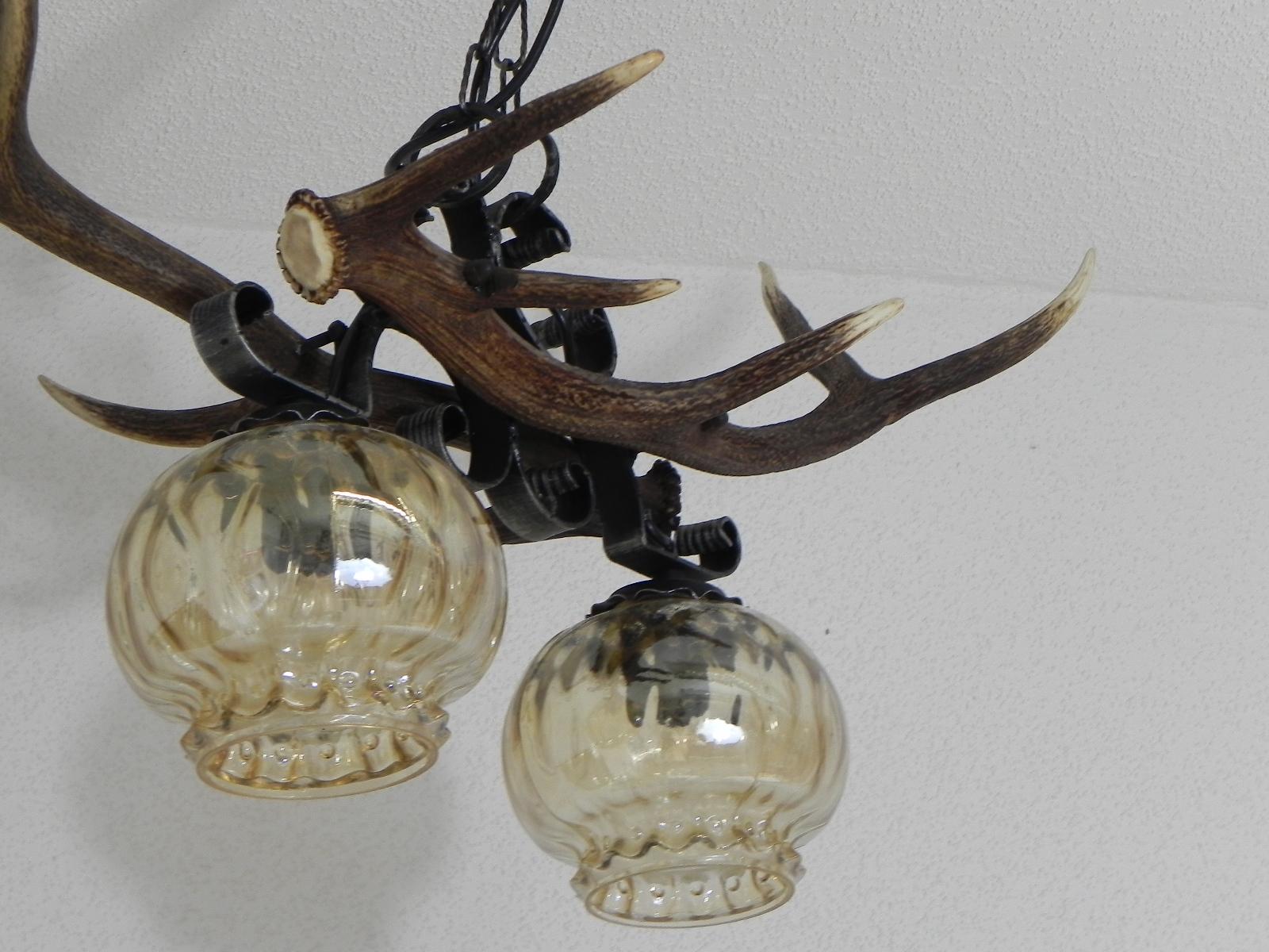 lampe en bois de cerf 2 flammes avec fer forg plafonnier luminaire ebay. Black Bedroom Furniture Sets. Home Design Ideas