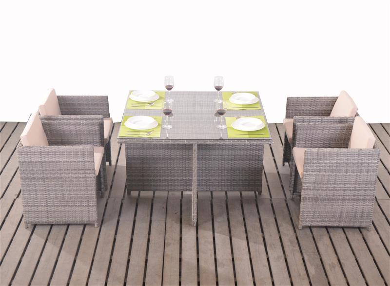 polyrattan tischset essgruppe gartengarnitur w rfel cube. Black Bedroom Furniture Sets. Home Design Ideas