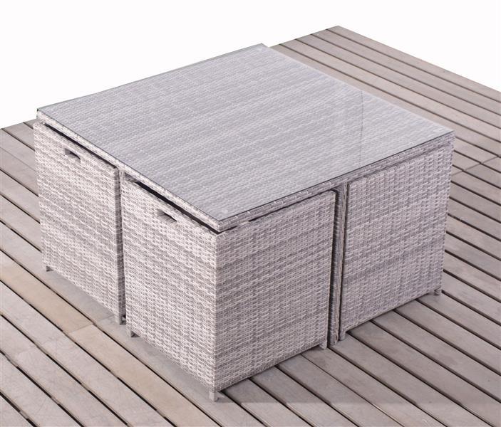 polyrattan tischset essgruppe gartengarnitur w rfel cube f r 4 personen grau ebay. Black Bedroom Furniture Sets. Home Design Ideas