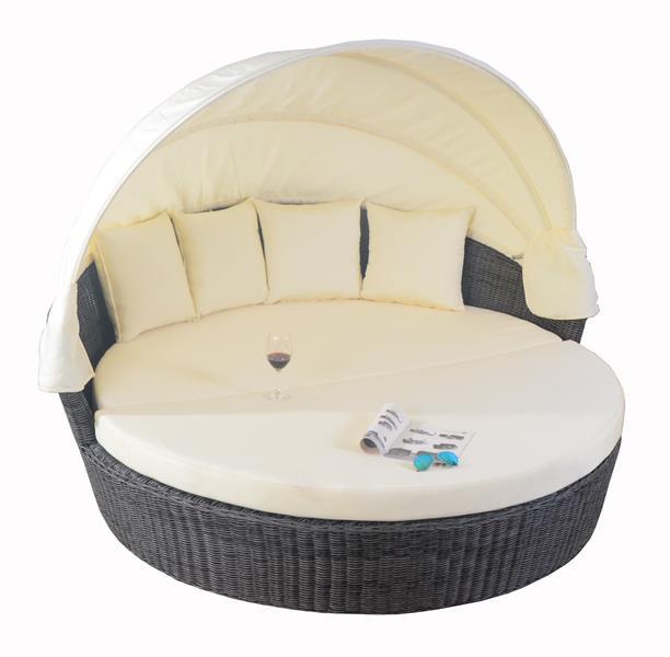 polyrattan liegeinsel sonneninsel lounge liegemuschel sunset grau ebay. Black Bedroom Furniture Sets. Home Design Ideas