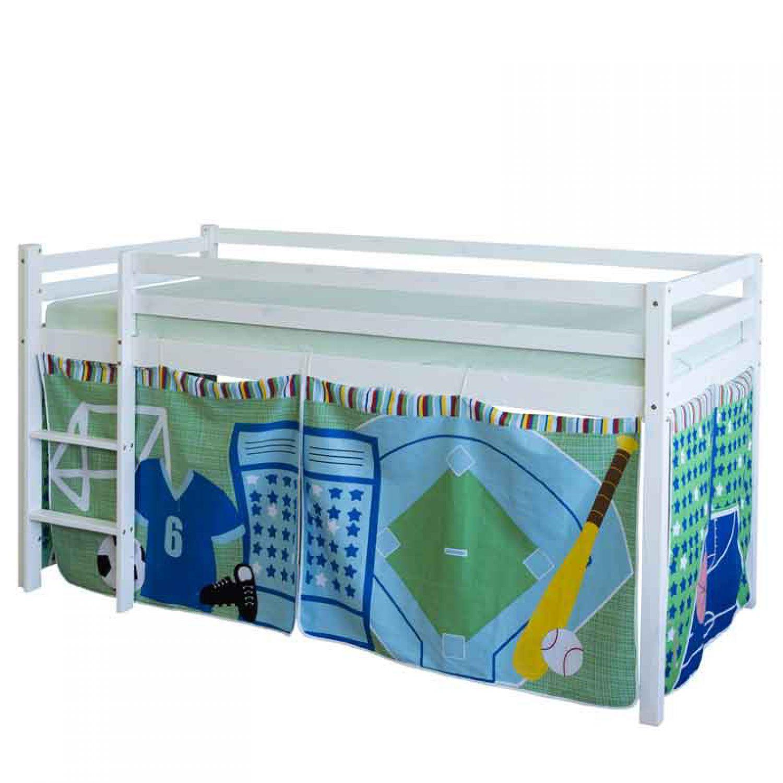 Hochbett Spielbett Kinderbett blau Fussball 90x200 Holzbett Bett ...