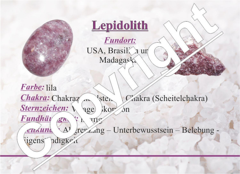 Lepidolith Anhänger flacher Trommelstein ca. 30 x 20 mm in Tropfen ...