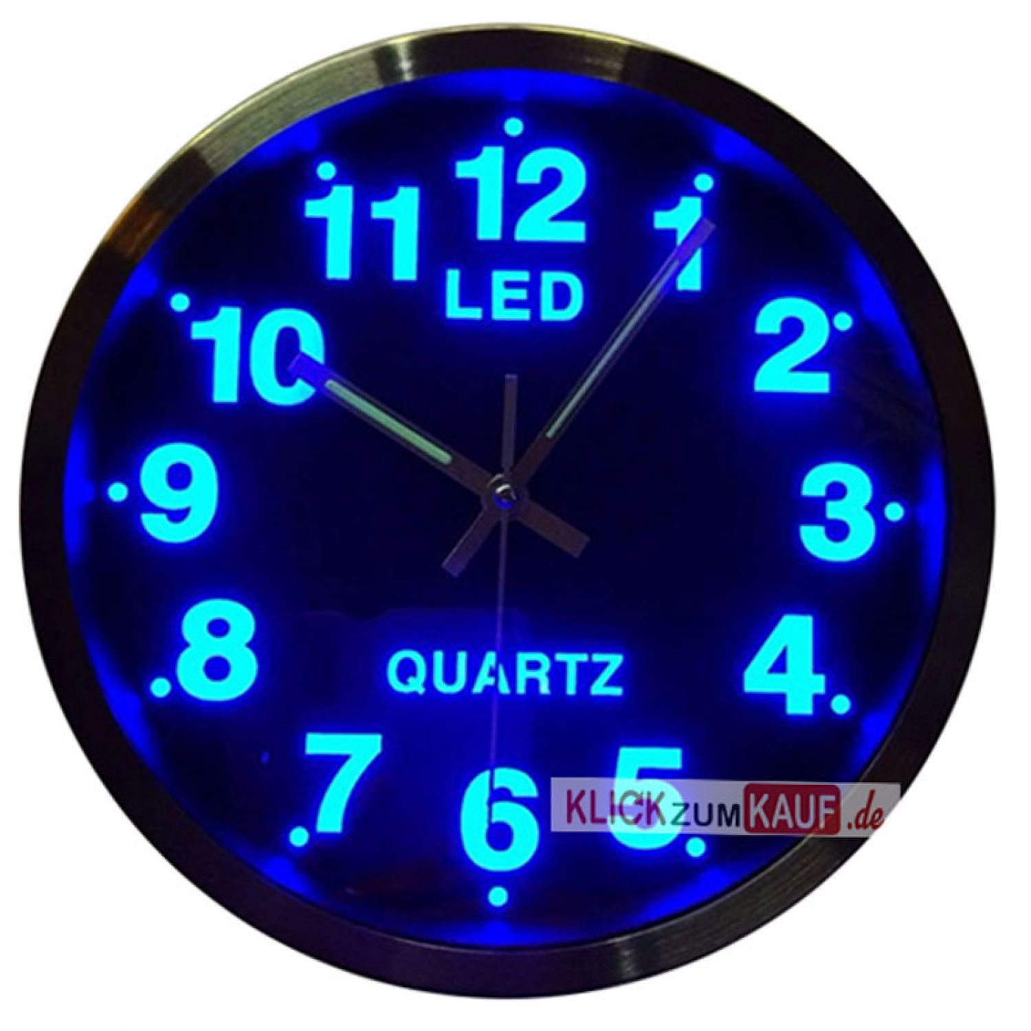led wanduhr blauer hintergrundbeleuchtung blau designuhr quarzuhr ebay. Black Bedroom Furniture Sets. Home Design Ideas