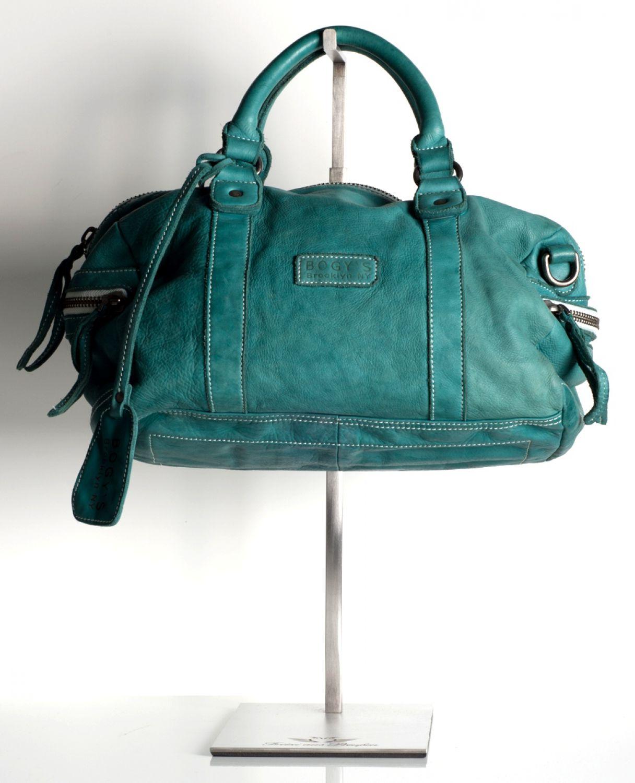 Bogys - Brooklyn NY - Echtleder Handtasche Tasche - Bowling Bag grün ...