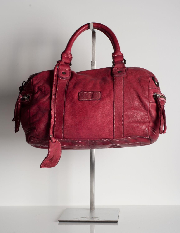Bogys - Brooklyn NY - Echtleder Handtasche Tasche - Bowling Bag rot ...