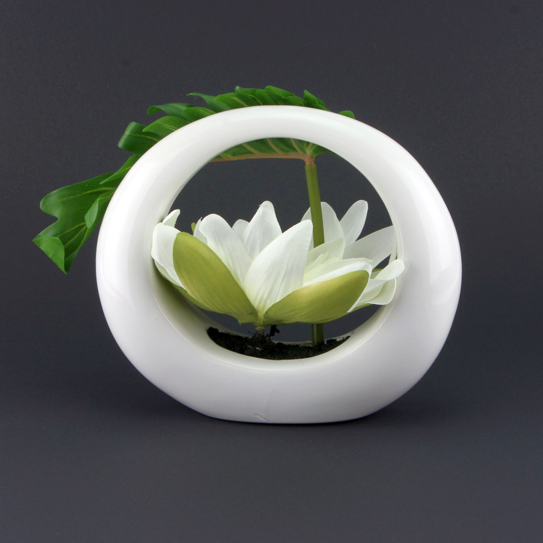 lumida flora leuchtende blumen lotusbl te in keramik vase neu ebay. Black Bedroom Furniture Sets. Home Design Ideas