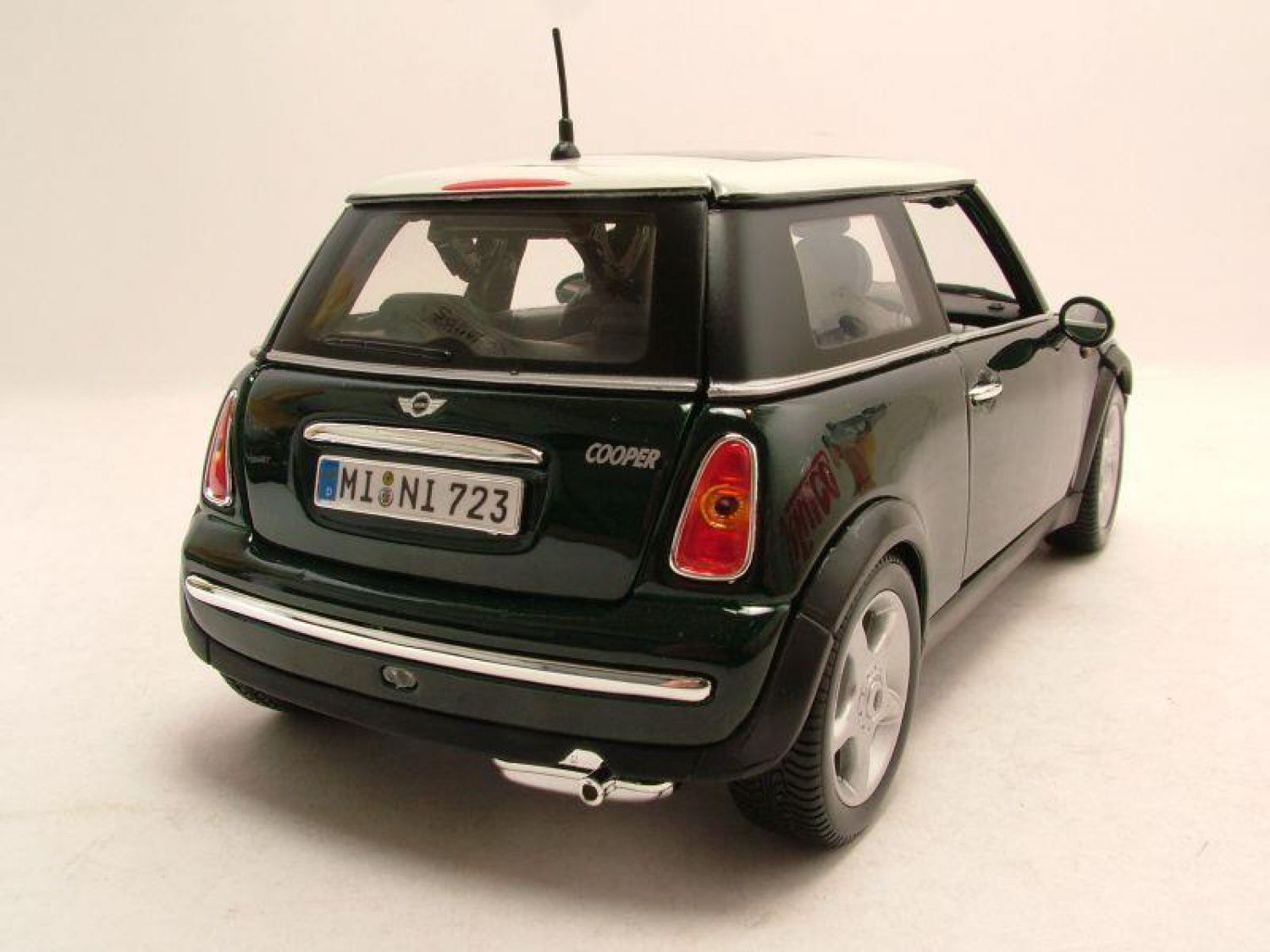 Bmw mini cooper sun roof darkgreen metallic model car for Sun motor cars bmw