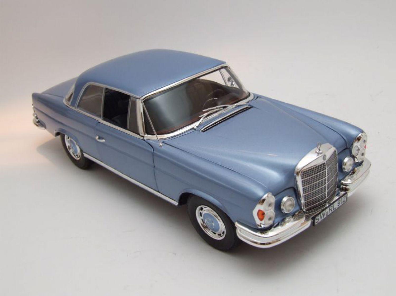 mercedes 280 se coupe w108 1969 light blue metallic model car 1 18 norev ebay. Black Bedroom Furniture Sets. Home Design Ideas