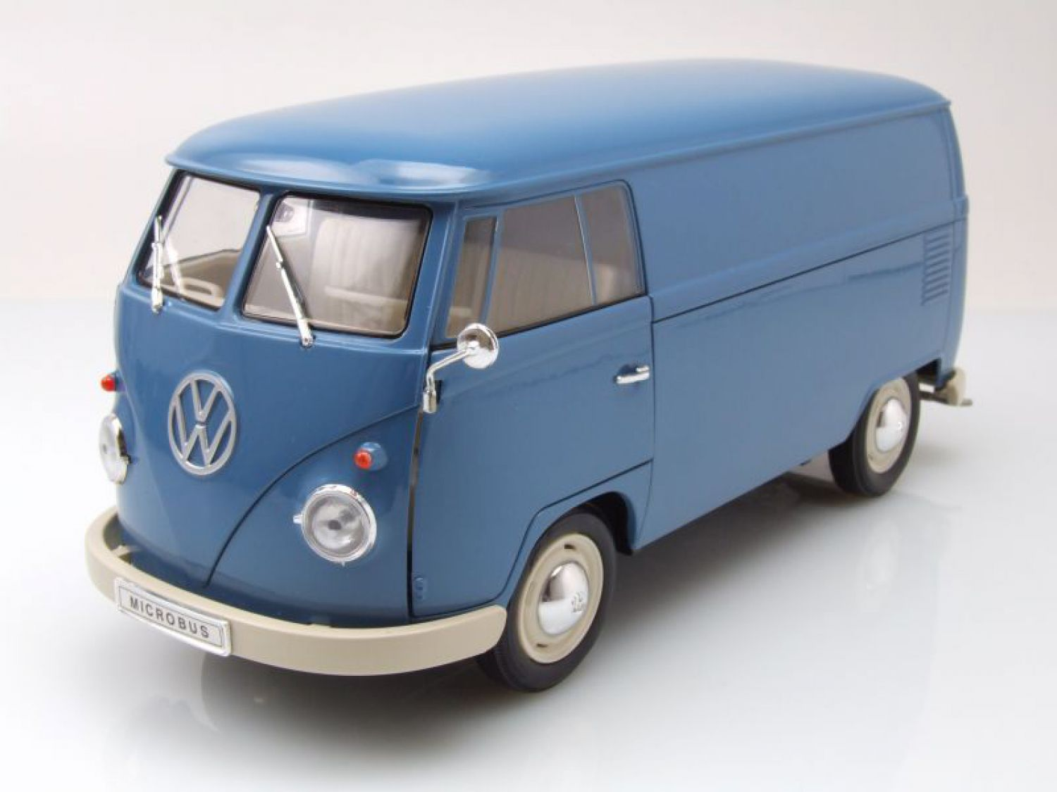 vw t1 bus kasten 1963 blau modellauto 1 18 welly ebay. Black Bedroom Furniture Sets. Home Design Ideas