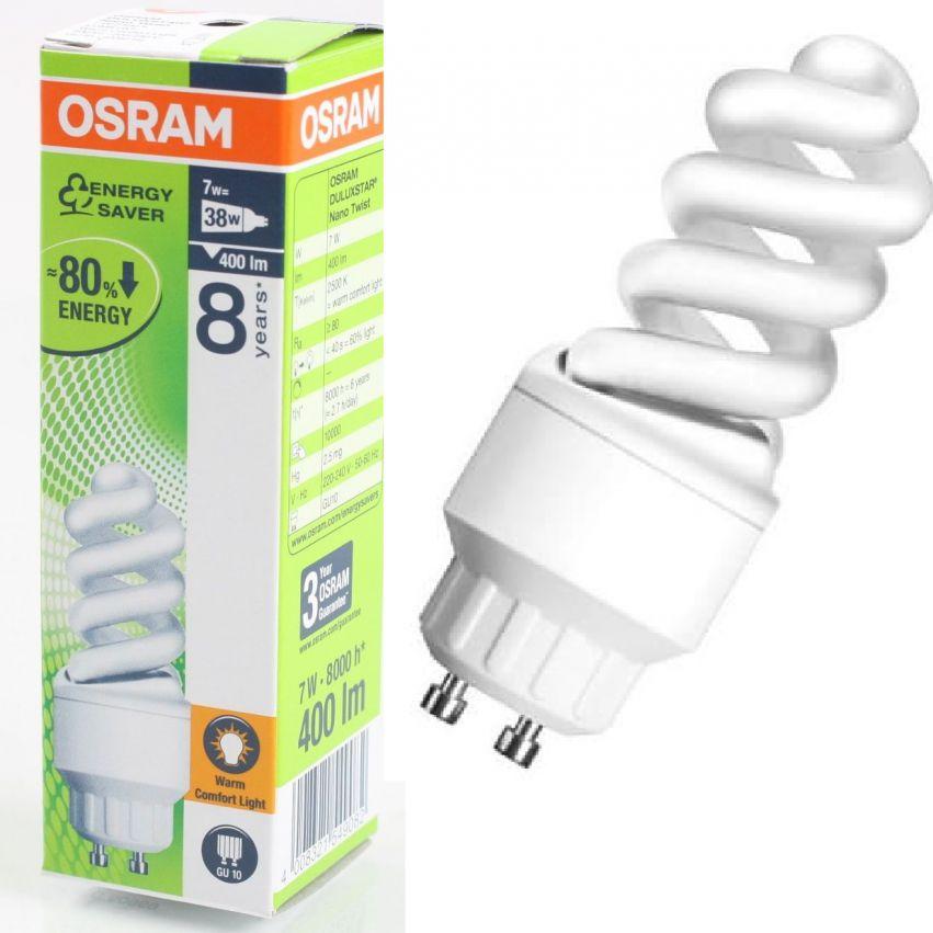 osram gu10 7w 38w nano twist energiesparlampe 7w7825 und. Black Bedroom Furniture Sets. Home Design Ideas