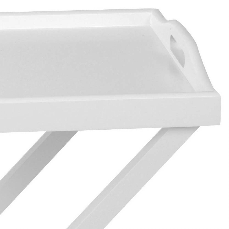 Beistelltisch serviertisch aus holz in wei auf beinen for Beistelltisch tablett holz