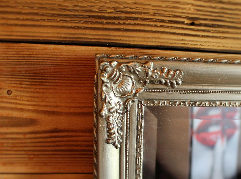 Wandspiegel zahra 150cm x 60cm barock silber spiegel antik for Badspiegel holz