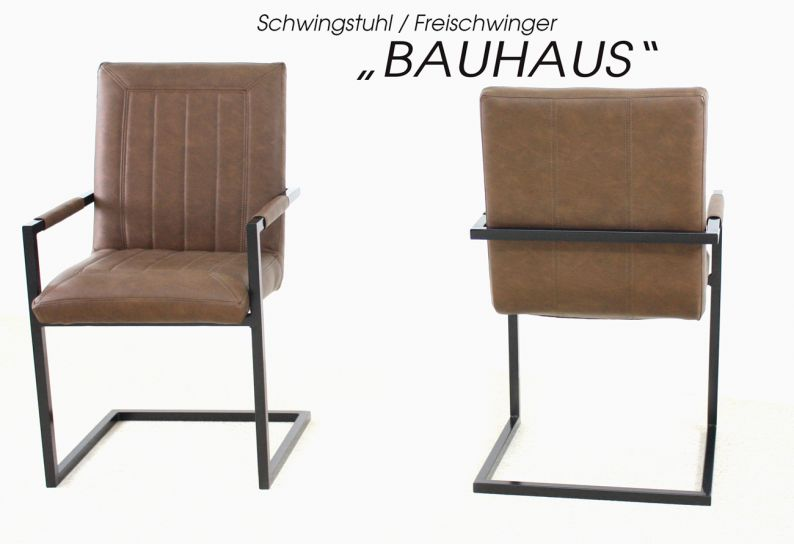 freischwinger schwingstuhl bauhaus mit armlehne kunstleder braun. Black Bedroom Furniture Sets. Home Design Ideas