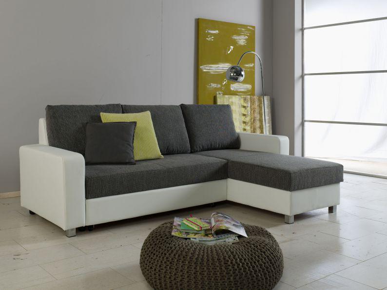 ecksofa schlafsofa federkern seiten universell montierbar weiss grau ebay. Black Bedroom Furniture Sets. Home Design Ideas
