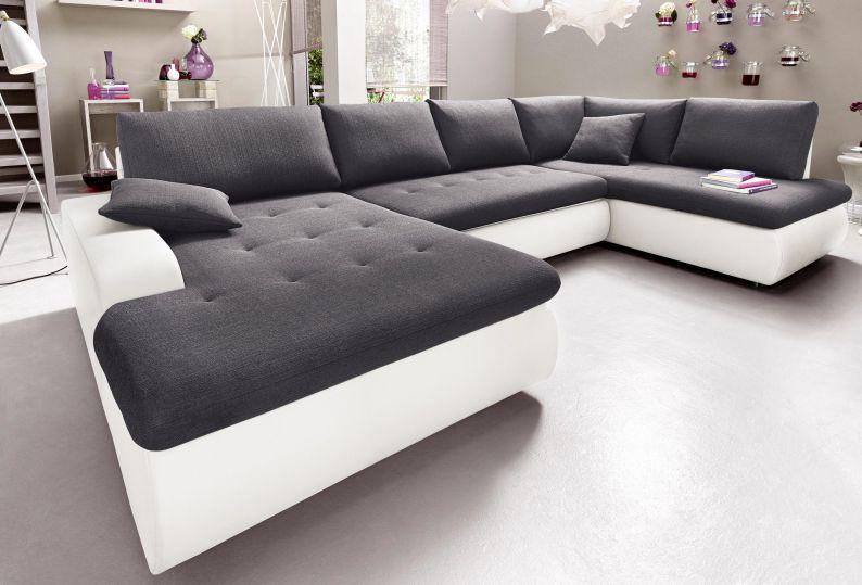 wohnlandschaft indie xl sofa u form wei anthrazit kunstleder stoff 315 cm ebay. Black Bedroom Furniture Sets. Home Design Ideas