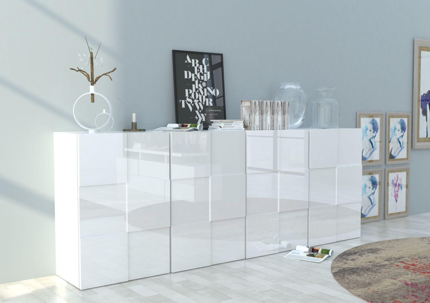 quadro hochglanz sideboard in weiss breite 240 cm ebay. Black Bedroom Furniture Sets. Home Design Ideas