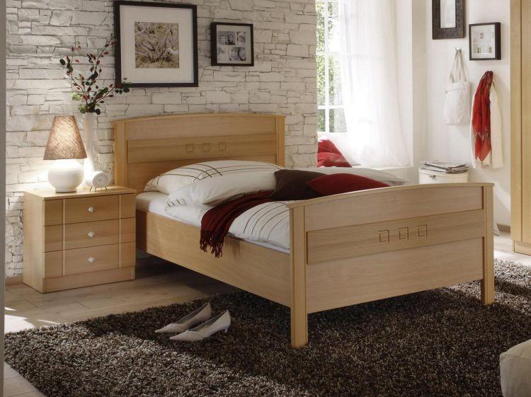 bett in komforth he seniorenbett buche dekor bettgestell einzelbett ebay. Black Bedroom Furniture Sets. Home Design Ideas