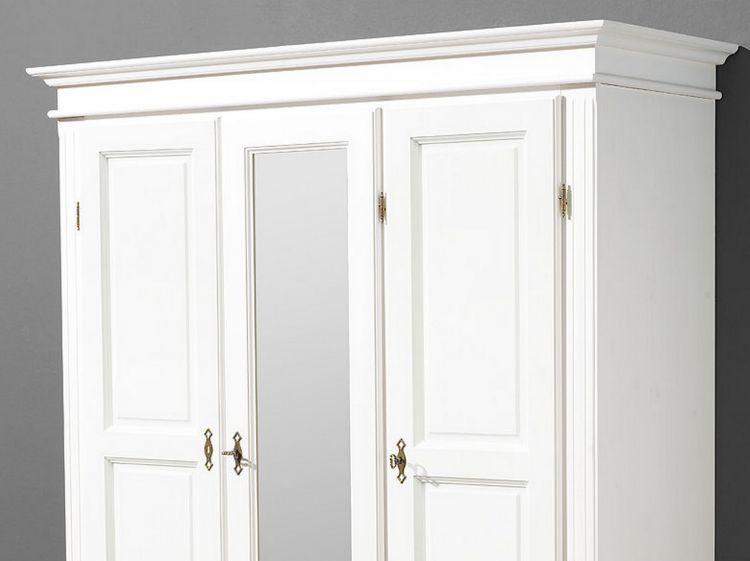 Kleiderschrank Dielenschrank Fichte massiv weiß lassiert 3 trg. mit ...