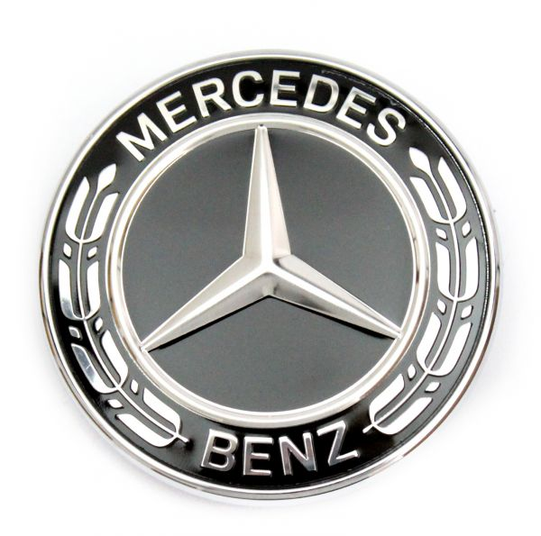 Mercedes benz stars emblem black bonnet w463 w461 c253 for Mercedes benz bonnet badge