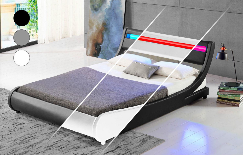 Doppelbett Mit Led ~ Led bett doppelbett tokyo polsterbett lattenrost kunstleder