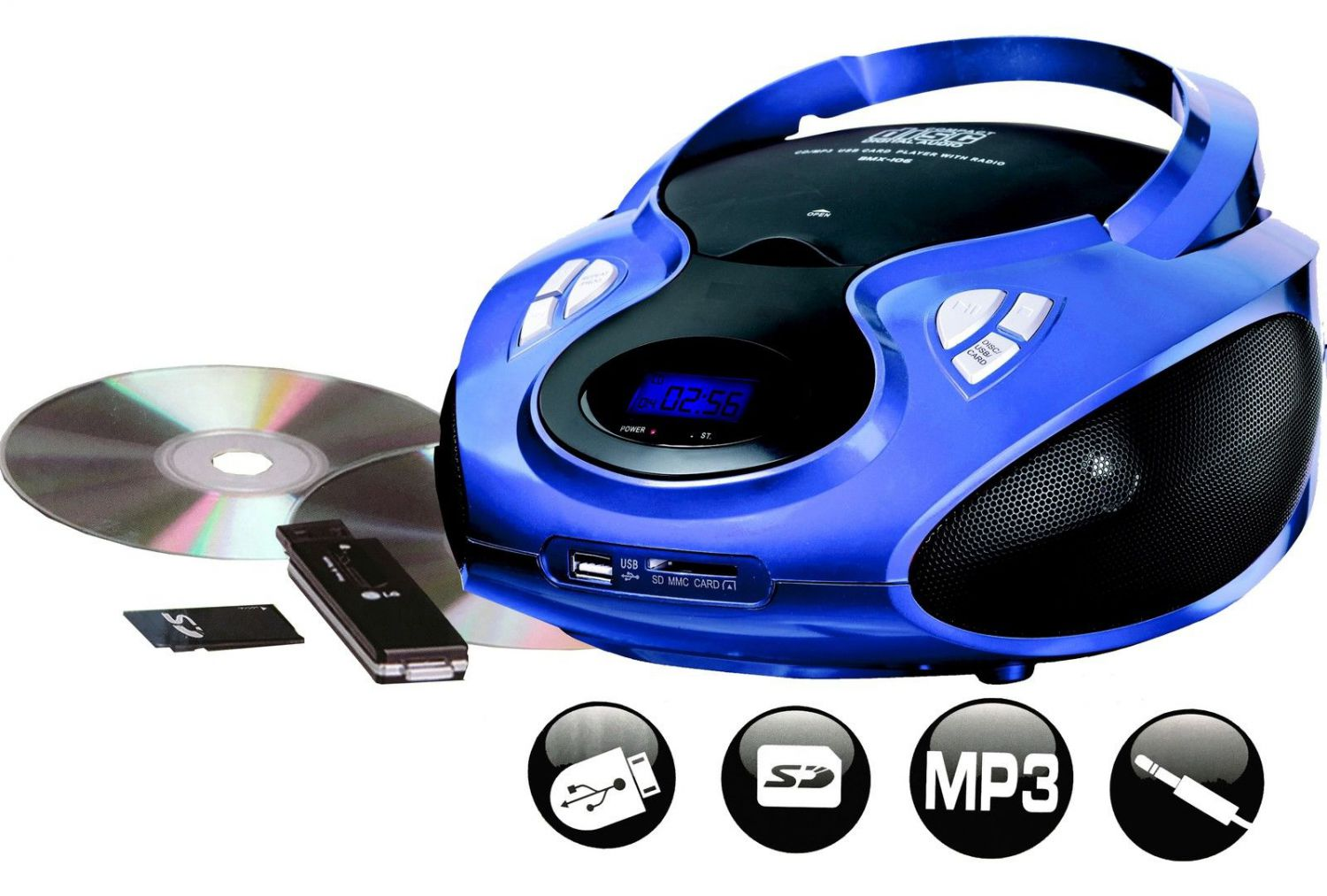 cd player tragbarer cd mp3 player radio usb sd blau ebay. Black Bedroom Furniture Sets. Home Design Ideas