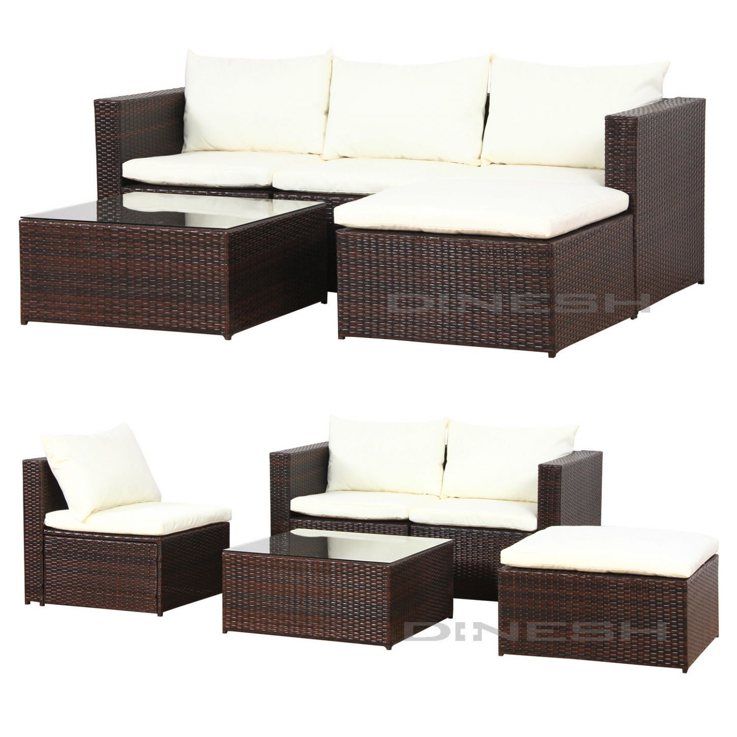 malaga poly rattan braun gartenm bel sitzgruppe essgruppe. Black Bedroom Furniture Sets. Home Design Ideas