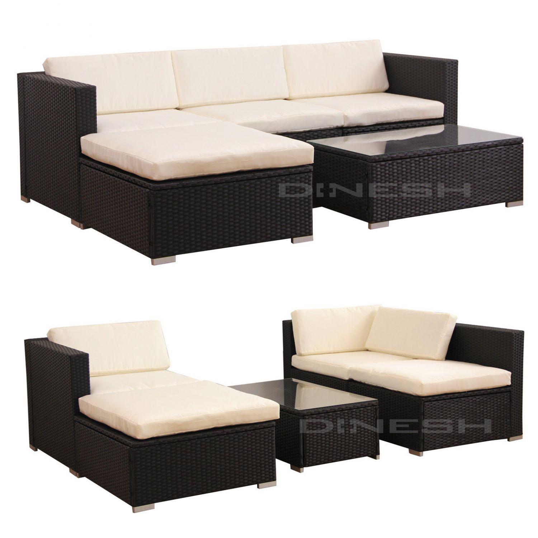 hawaii poly rattan lounge schwarz gartenset sofa garnitur. Black Bedroom Furniture Sets. Home Design Ideas
