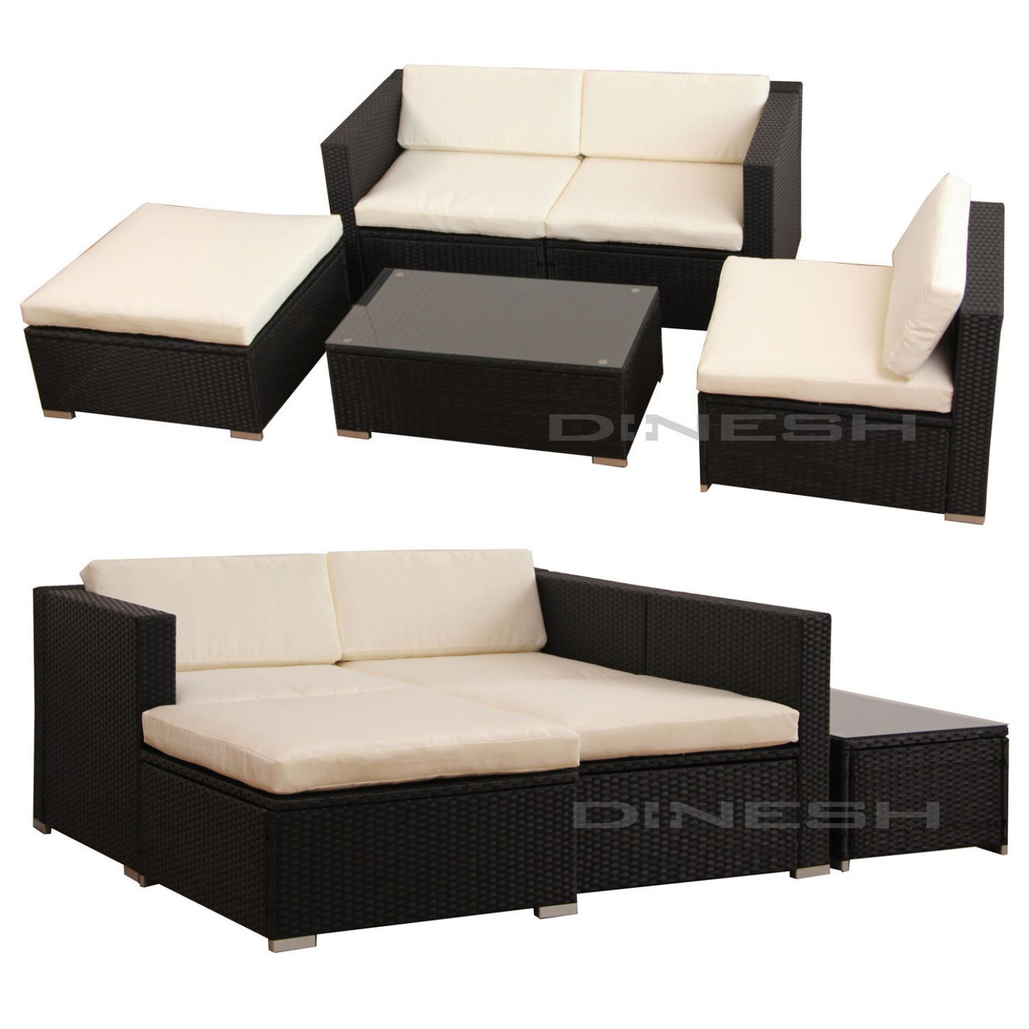 hawaii poly rattan lounge schwarz gartenset sofa garnitur polyrattan gartenm bel ebay. Black Bedroom Furniture Sets. Home Design Ideas