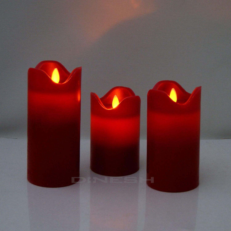 led rot kerze mit bewegter flamme wachs kerzen flammenlos echtwachs flackernd ebay. Black Bedroom Furniture Sets. Home Design Ideas