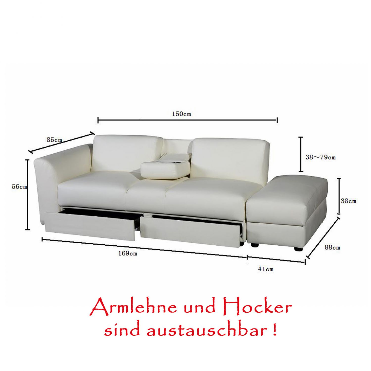 king funktionssofa weiss schlafsofa sofa kunstleder bettsofa lounge couch ebay. Black Bedroom Furniture Sets. Home Design Ideas