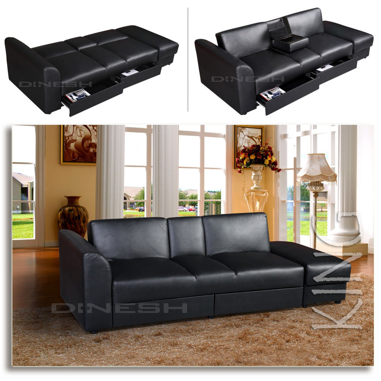king funktionssofa schwarz schlafsofa sofa kunstleder bettsofa lounge couch ebay. Black Bedroom Furniture Sets. Home Design Ideas