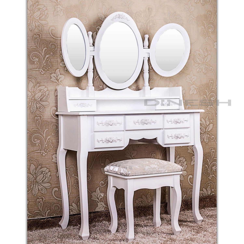 xxl schminktisch diana kosmetiktisch frisierkommode mit hocker weiss vintage ebay. Black Bedroom Furniture Sets. Home Design Ideas
