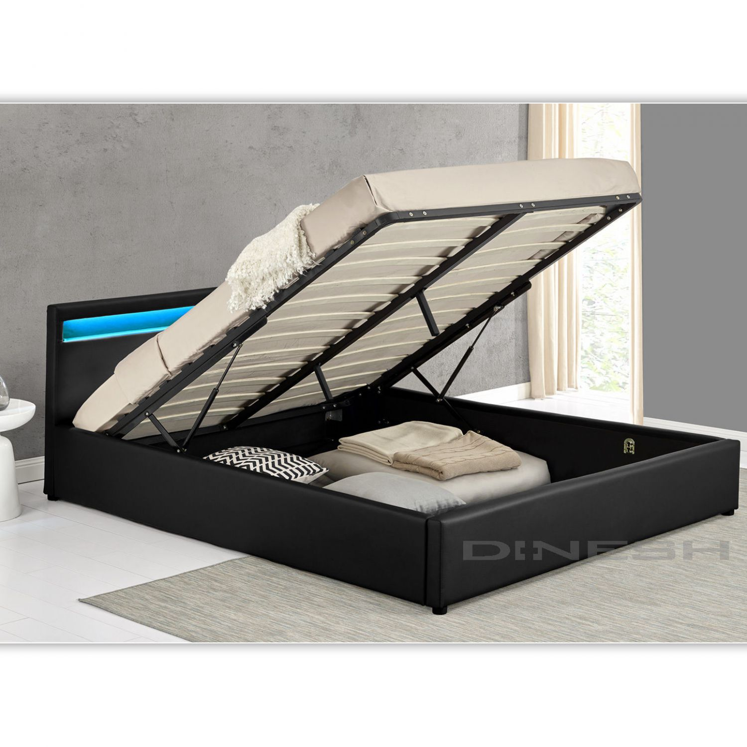 ohio schwarz led doppelbett polsterbett gasdruckfeder bett lattenrost kunstleder ebay. Black Bedroom Furniture Sets. Home Design Ideas