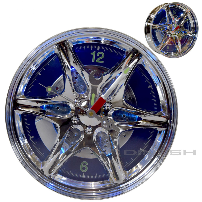 101 led felgen reifen wanduhr design racing uhr auto motorsport blau led 27cm ebay. Black Bedroom Furniture Sets. Home Design Ideas
