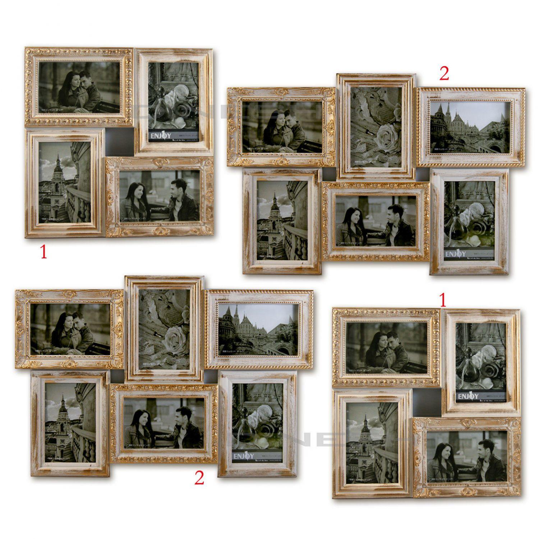 3d bilderrahmen collage 4 6 fotos fotogalerie rahmen antik wei gold ebay. Black Bedroom Furniture Sets. Home Design Ideas