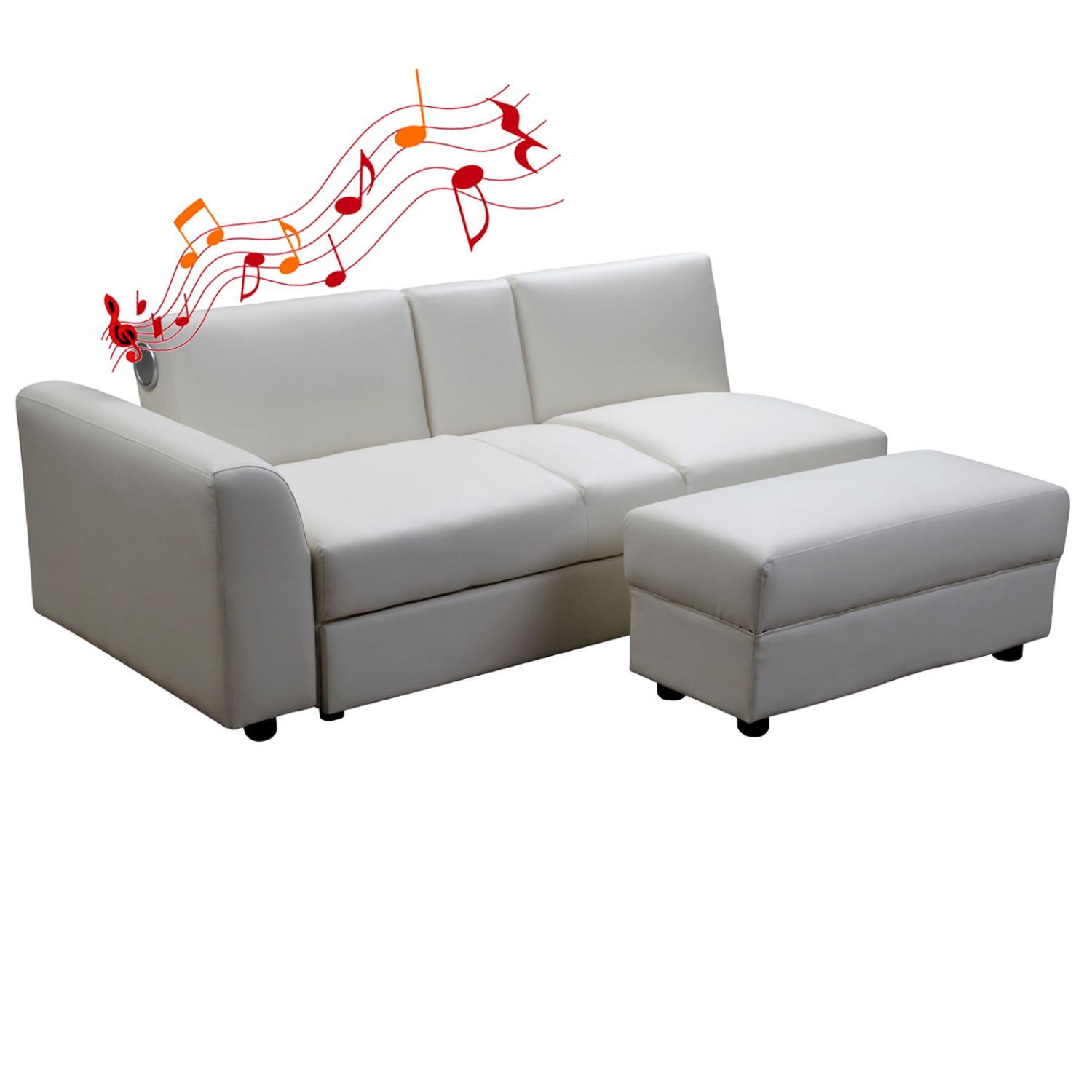 kin funktionssofa mit bluetooth und 2 schubladen in weiss schlafsofa neu ebay. Black Bedroom Furniture Sets. Home Design Ideas