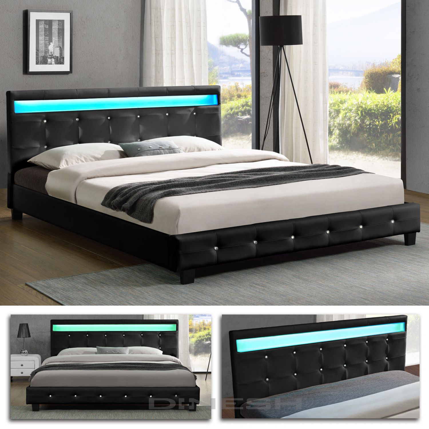 denver schwarz led doppelbett polsterbett bettgestell bett. Black Bedroom Furniture Sets. Home Design Ideas