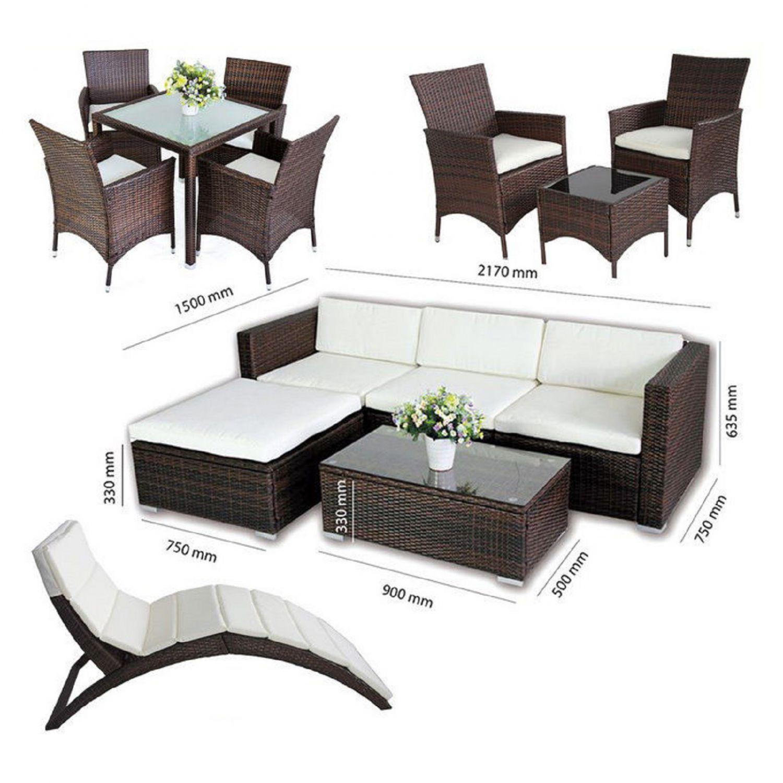 POLY RATTAN Lounge SONNENLIEGE Sofa Garnitur Gartenmöbel SITZGRUPPE ...