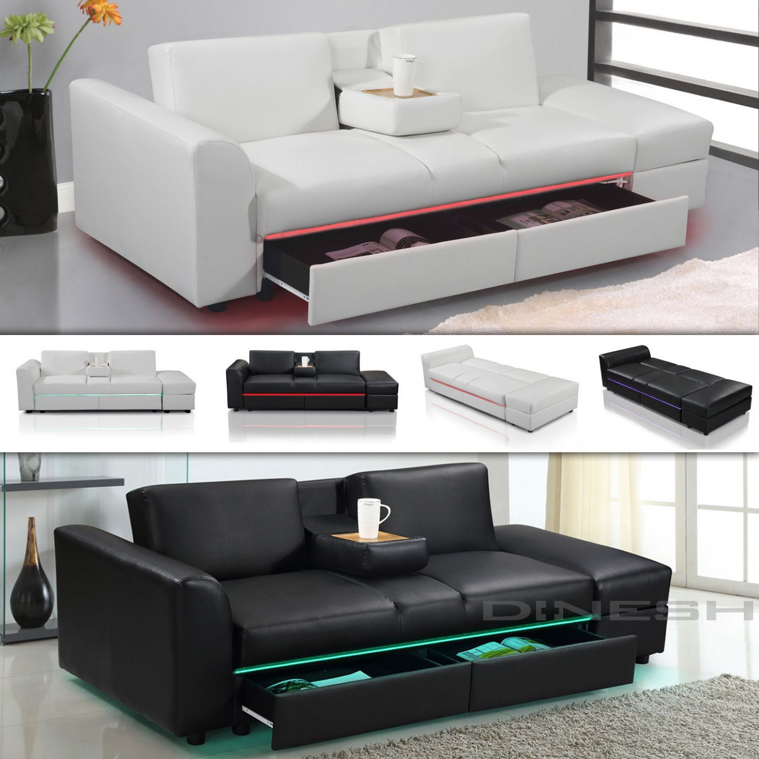 lincoln led funktionssofa schlafsofa sofa kunstleder bettsofa lounge couch ebay. Black Bedroom Furniture Sets. Home Design Ideas