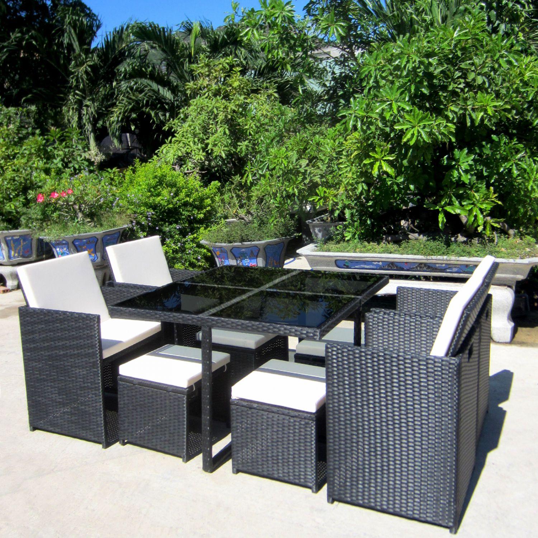 florida poly rattan schwarz sitzgruppe gartengarnitur essgruppe gartenm bel cube ebay. Black Bedroom Furniture Sets. Home Design Ideas