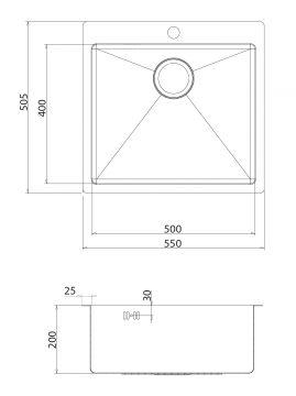 aktion exklusive edelstahlsp le mit nullradius 50x50x20 cm becken ohne ablage ebay. Black Bedroom Furniture Sets. Home Design Ideas