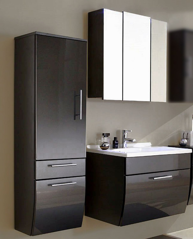 Komplett badm bel set hochglanz 70cm waschtisch badezimmerm bel spiegelschrank ebay for Badmobel anthrazit hochglanz