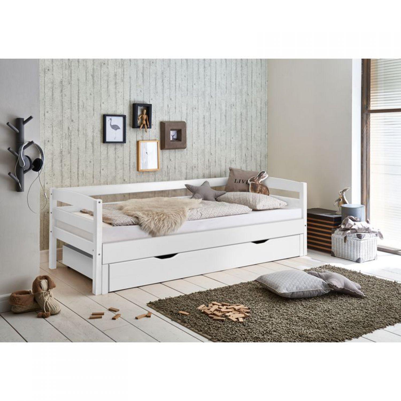 funktionsbett 90 180x200 massiv weiss einzelbett. Black Bedroom Furniture Sets. Home Design Ideas