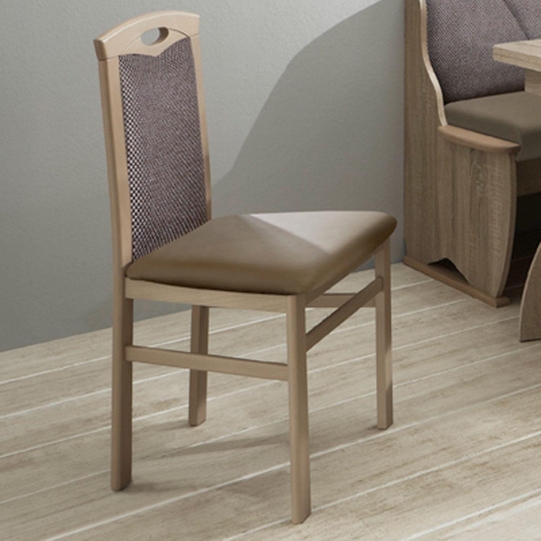 Eckbankgruppe WICHITA 31 4 tlg Rücken braun silber Sitz cappuccino Eiche sonoma 132x89x60cm