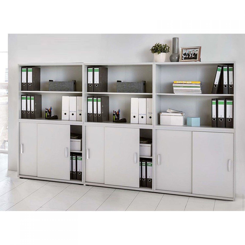 Büromöbel Aktenschrank & Aktenregal Set in grau Ordnerschrank mit ...