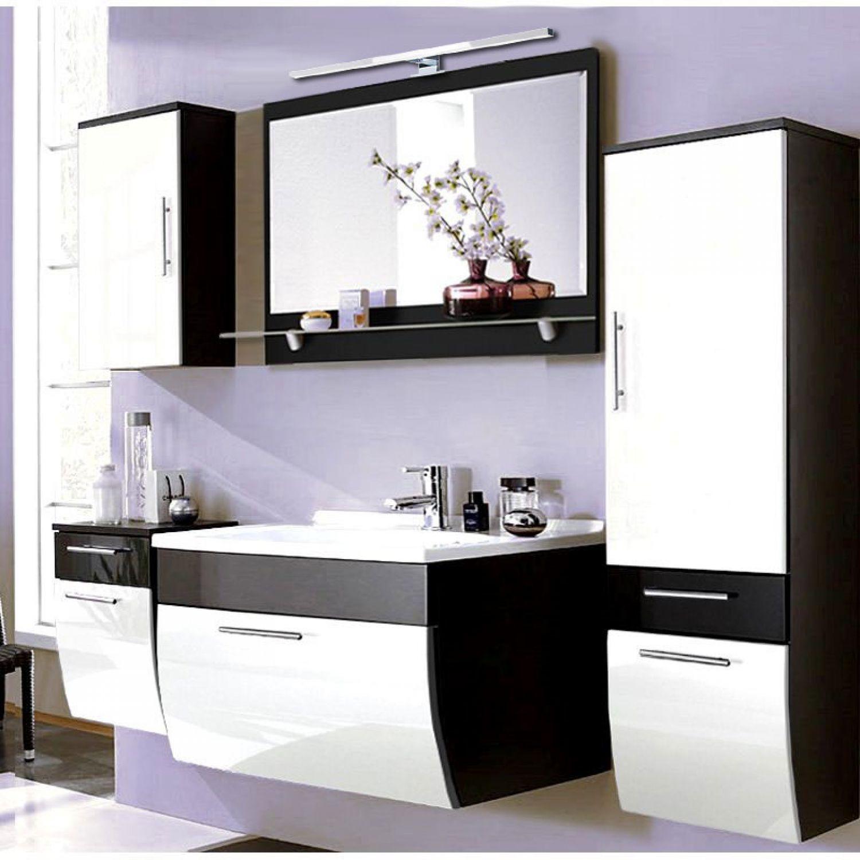 badm bel set hochglanz wei anthrazit 90cm waschtisch badezimmerm bel badset 4251324907971 ebay. Black Bedroom Furniture Sets. Home Design Ideas