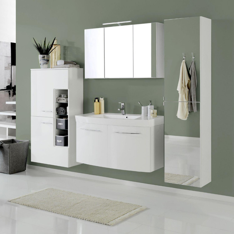 badezimmer hochschrank in wei mit spiegel seitenschrank badm bel h ngeschrank ebay. Black Bedroom Furniture Sets. Home Design Ideas