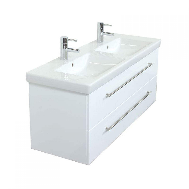 Badezimmermöbel Doppel Waschtisch Set mit Unterschrank Hochglanz ...